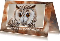 Verjaardagskaart met uilen wijsheid