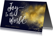 Joy to the World goud christelijke kerstkaart