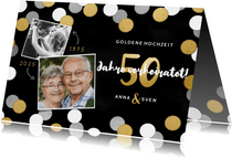 Jubiläumskarte Goldene Hochzeit Fotos und Konfetti