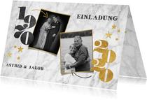 Jubiläumskarte Goldene Hochzeit Marmorlook & Fotos