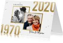 Jubiläumskarte Goldene Hochzeit mit Fotos & Herzen