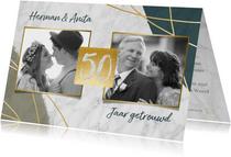 Jubileum uitnodiging 50 jaar met marmer, lijnen en foto's