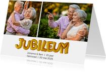 Jubileum uitnodiging ballonnen goud