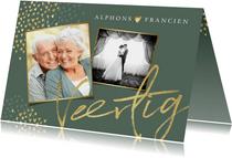 Jubileum uitnodiging goud stijlvol hartjes groen foto's