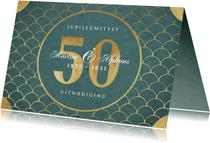 Jubileum uitnodiging klassiek retro goud patroon