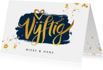 Jubileum uitnodiging vijftig met goudlook kalligrafie