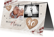Jubileum uitnodiging vintage kant foto's hout liefde