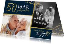 Jubileumfeest uitnodiging 50 jaar confetti goud foto