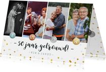 Jubileumfeest uitnodiging fotocollage brons > zilver > goud!