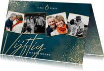 Jubileumkaart 50 jaar getrouwd blauw gouden spetters