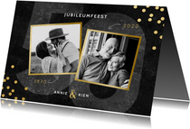 Jubileumkaart 50 jaar getrouwd gouden confetti en foto's