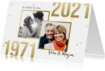 Jubileumkaart 50 jaar getrouwd jaartallen 1971/2021 hartjes