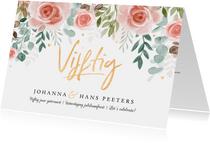 Jubileumkaart 50 jaar huwelijk bloemen klassiek foto