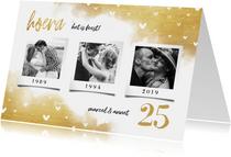 Jubileumkaart fotocollage 3 foto's met hartjes en goud