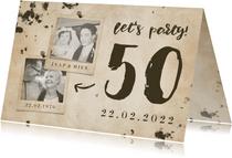 Jubileumkaart 'let's party' vintage met foto's en getal