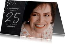 Jubileumkaart medewerker 25 jaar in dienst krijtbord