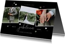 Jubileumkaart met fotocollage en hartjes