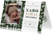 Jungle geboortekaartje jongen met dieren en een eigen foto
