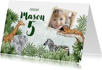 Jungle kinderfeestje foto dieren waterverf