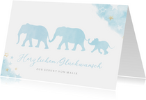 Karte Glückwunsch Geburt blaue Elefanten