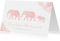 Karte Glückwunsch Geburt rosa Elefanten