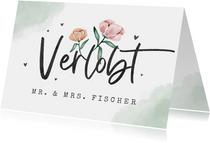 Karte Glückwunsch 'Verlobt' mit Blumen