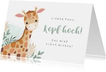 Karte Gute Besserung für Kind mit Giraffe