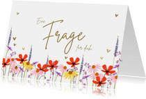 Karte Trauzeugin-Frage zur Hochzeit Blumenwiese