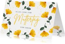 Karte zum Muttertag gelbe Blumen