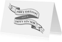 Kerst banner zwart-wit liggend