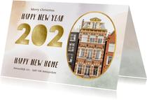 Kerst en nieuwjaarsverhuiskaart 2020 waterverf