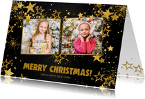 Kerst feestelijke zwarte fotokaart met vele gouden sterren