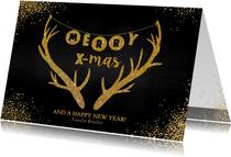 Kerstkaarten - Kerst hippe feestelijk kerstkaart goud gewei