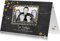 Kerst hippe grijze kaart met foto en gouden en witte sterren