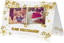 Kerst hippe kaart met 2 foto's en  gouden glitter sterren