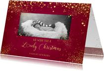 Kerst klassiek rode foto kaart met gouden sterren en hartjes