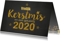 Kerst krijtbord handlettering goud glitter 2020