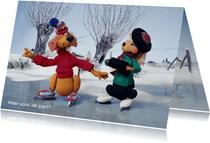 Kerst Loeki de Leeuw en Roos schaatsen