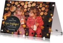 Kerst moderne foto kaart met sterren en krijtbord kerstbal