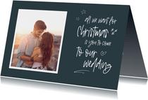 Kerst save the date kaart met foto en handgeschreven tekst