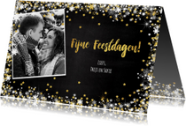 Kerst sfeervolle donkere fotokaart met vele sterren