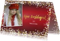 Kerst sfeervolle rode fotokaart  met vele sterren