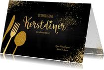 Kerst sfeervolle uitnodiging kerstdiner goud bestek