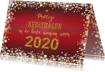 Kerst stijlvol rood  handlettering goud glitter 2020