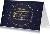 Kerst stijlvolle blauwe kaart en  goudkleurig wereldbol