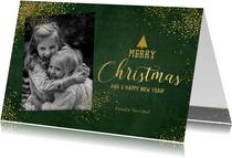 Kerst stijlvolle donkergroene foto kaart gouden sterretjes