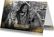 Kerstkaarten - Kerst stijlvolle foto kaart met vele gouden sterretjes