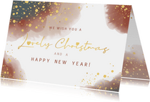 Kerst stijlvolle kaart waterverf en goudkleurige spetters