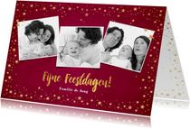 Kerstkaarten - Kerst stijlvolle rode foto kaart met goudkleurige sterretjes