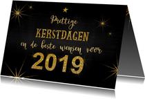 Kerstkaarten - Kerst stoer en feestelijk handlettering goud glitter 2019